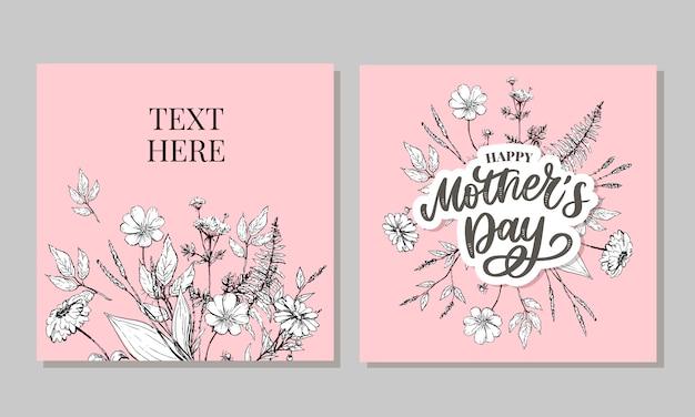 Szczęśliwa matka dnia kartka z pozdrowieniami ilustracja. ręka, napis kaligrafia tło wakacje w ramce kwiatowy.