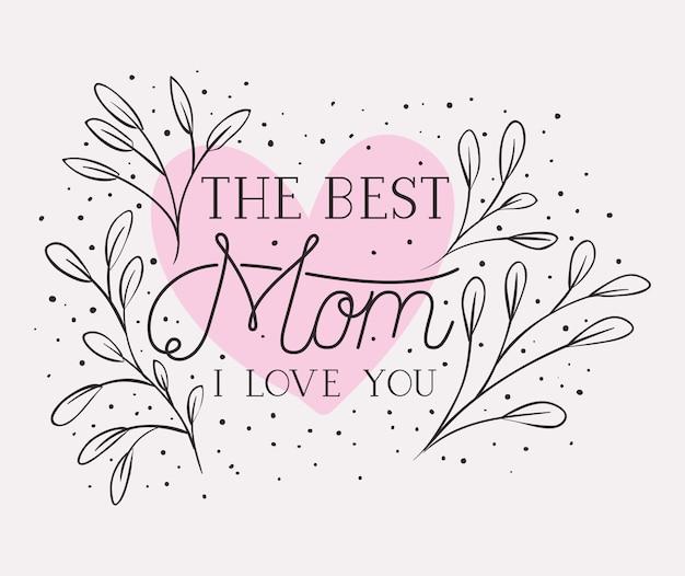 Szczęśliwa matka dzień karta z ziół serca ramą