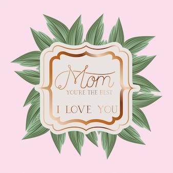 Szczęśliwa matka dzień wiktoriański kwadratowa rama z liśćmi