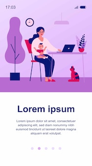 Szczęśliwa matka trzyma dziecko i pracuje online w domu ilustracja