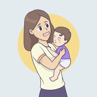 Szczęśliwa matka trzyma w ręku syna. ilustracja wektorowa.