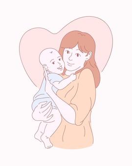 Szczęśliwa matka z dzieckiem. ręcznie rysowane ilustracji