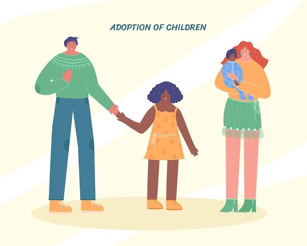 Szczęśliwa międzynarodowa rodzina z przybranym dzieckiem. adopcja dzieci. ilustracja