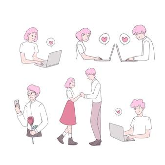 Szczęśliwa młoda dziewczyna i chłopak w miłości zestaw ilustracji