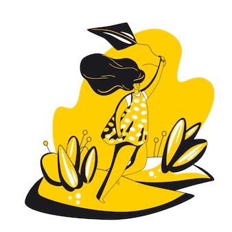 Szczęśliwa młoda kobieta gospodarstwa latawca, działa na polanie w okresie letnim, z radością i śmiechem. samoopieki pozytywne i szczęście płaskie koncepcja