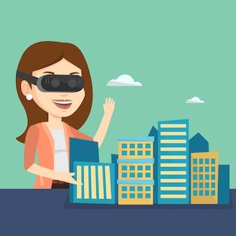 Szczęśliwa młoda kobieta jest ubranym słuchawki wirtualnej rzeczywistości.