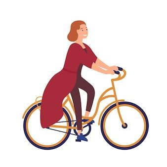 Szczęśliwa młoda kobieta lub dziewczyna ubrana w ubranie, jazda na rowerze. uśmiechnięta postać kobieca na rowerze