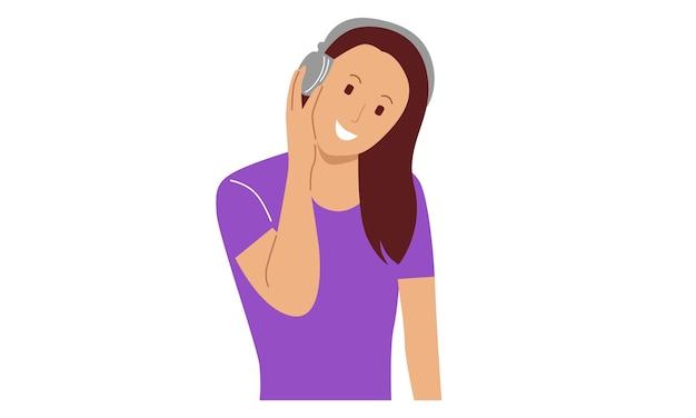 Szczęśliwa młoda kobieta, słuchanie muzyki na słuchawkach bezprzewodowych