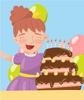 Szczęśliwa młoda kobieta trzyma urodzinowego torta fotografię, najlepsze momenty na zdjęciach, portret członkowie rodziny ilustracja