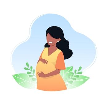 Szczęśliwa młoda kobieta w ciąży. pojęcie ciąży i macierzyństwa. ilustracji wektorowych