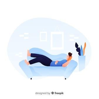 Szczęśliwa młoda osoba relaksuje w domu lądowanie stronę