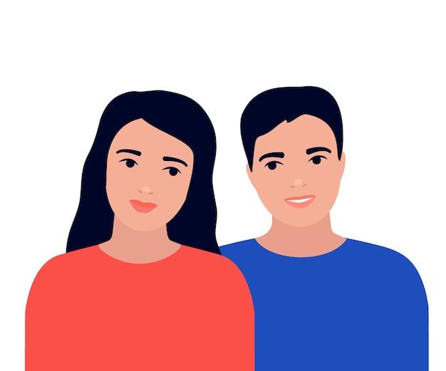 Szczęśliwa młoda para mężczyzna i kobieta kochają razem. miłość relacji mężczyzny i kobiety. rodzina miesiąc miodowy. ilustracja