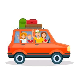 Szczęśliwa młoda rodzina podróżuje czerwonym samochodem z dzieciakami