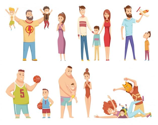 Szczęśliwa młoda rodzina. tata, mama i syn razem. ojciec i jego młody syn bawi się zabawkami.