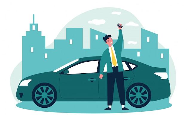 Szczęśliwa młody człowiek leasinguje samochodową ilustrację