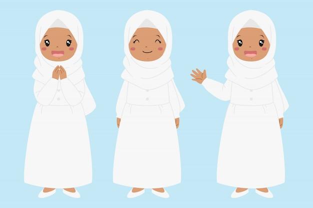 Szczęśliwa muzułmańska amerykanin afrykańskiego pochodzenia dziewczyna uśmiecha się rękę i macha. zestaw znaków dla dzieci muzułmańskich.