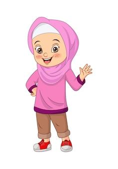 Szczęśliwa muzułmańska dziewczyna kreskówka macha ręką