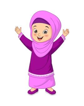 Szczęśliwa muzułmańska dziewczyna kreskówka na białym tle