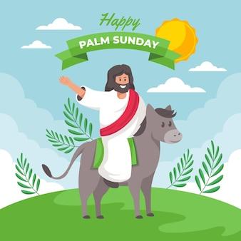 Szczęśliwa niedziela palmowa ilustracja z jezusem i osłem