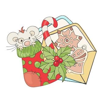 Szczęśliwa nowa mysz świąteczna kreskówka
