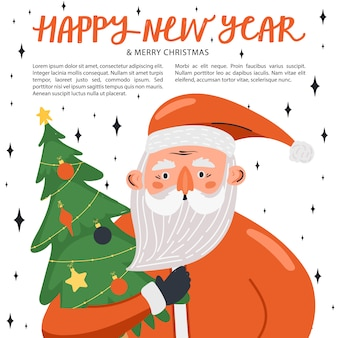 Szczęśliwa nowy rok ilustracja z święty mikołaj charakterem z jedliną.