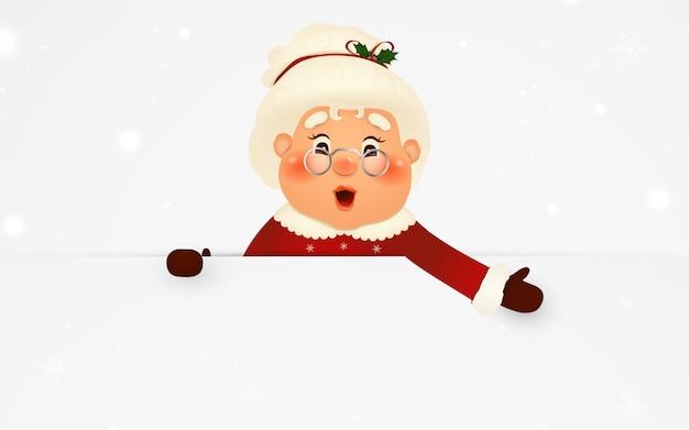 Szczęśliwa pani mikołajowa postać z kreskówki stojąca za pustym znakiem, pokazująca na dużym pustym znaku z padającym śniegiem. śliczna, wesoła pani