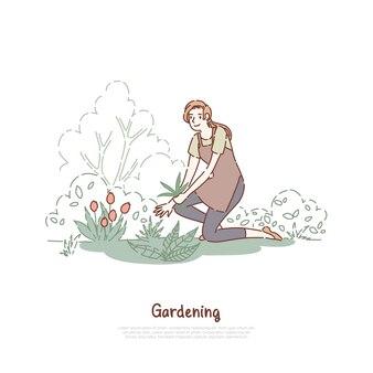 Szczęśliwa pani pracuje w ogrodzie