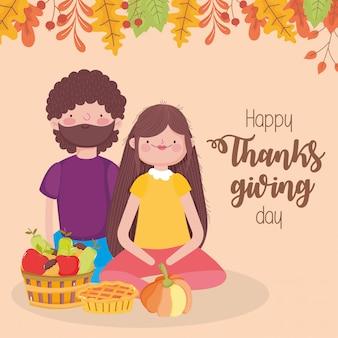Szczęśliwa para dzień dziękczynienia z koszem dyni ciasto i owoce