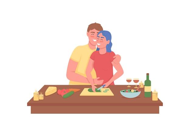Szczęśliwa para gotowanie romantycznej kolacji mieszkanie