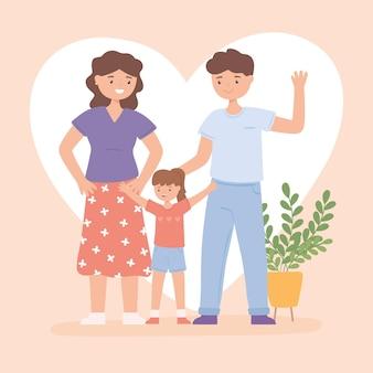 Szczęśliwa para i adoptowana dziewczyna