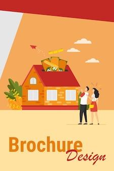 Szczęśliwa para inwestując pieniądze w mieszkanie ilustracji wektorowych nieruchomości. postaci z kreskówek biorąc kredyt bankowy i kupując dom. kredyt hipoteczny i koncepcja własności