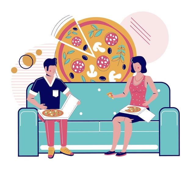 Szczęśliwa para jedząca pizzę na wynos siedząc na kanapie w domu ilustracja wektorowa fast food dostawa pi...