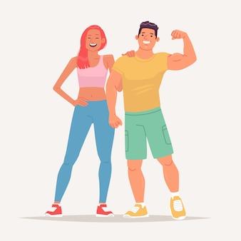 Szczęśliwa para młodych ludzi ubranych w odzież sportową i prowadzących aktywny tryb życia. mężczyzna i kobieta odwiedzający siłownię. modelka fitness i kulturysta. ilustracja wektorowa w stylu płaski