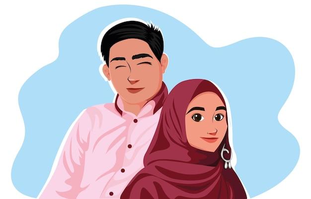 Szczęśliwa para muzułmańska. młodzi muzułmanie się kochają