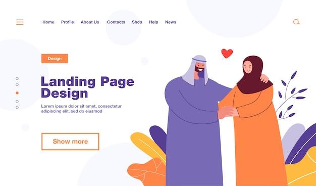 Szczęśliwa para muzułmańska trzymając się za ręce. mąż i żona w tradycyjnym arabskim stroju płaskiej ilustracji. miłość, rodzina, koncepcja związku, projekt strony internetowej lub strona docelowa