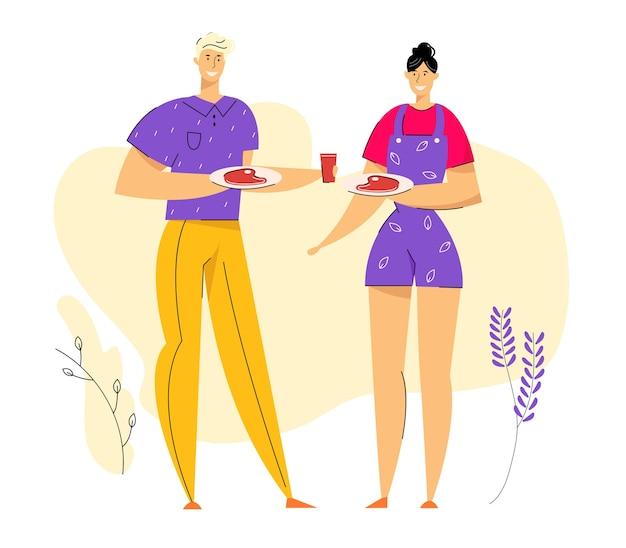 Szczęśliwa para na bbq party jedzenie mięsa z grilla. grill w parku z postaciami mężczyzn i kobiet korzystających z czasu wolnego.