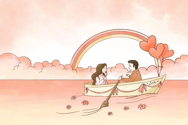 Szczęśliwa para na łódkowatym valentine tle