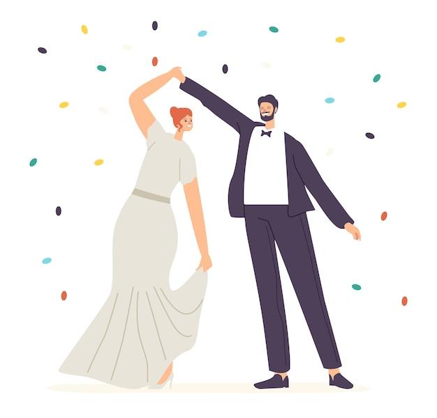 Szczęśliwa para nowożeńcy wykonać taniec weselny podczas koncepcji uroczystości. just married postacie panny młodej i pana młodego tańczą, ceremonia ślubna, mąż i żona walc. ilustracja wektorowa kreskówka ludzie