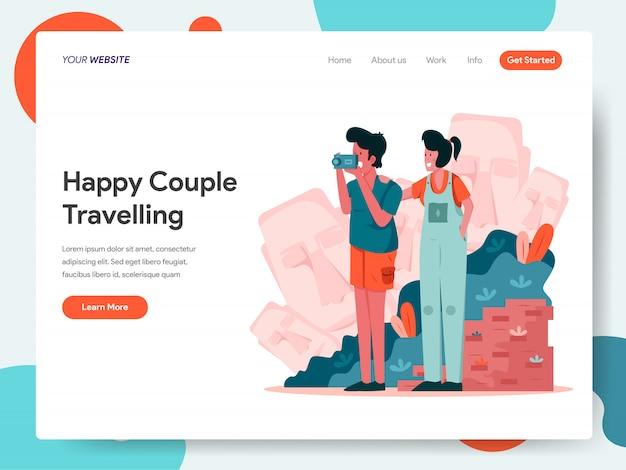 Szczęśliwa para podróży baner na stronie docelowej