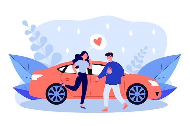 Szczęśliwa para randki spotkanie w samochodzie