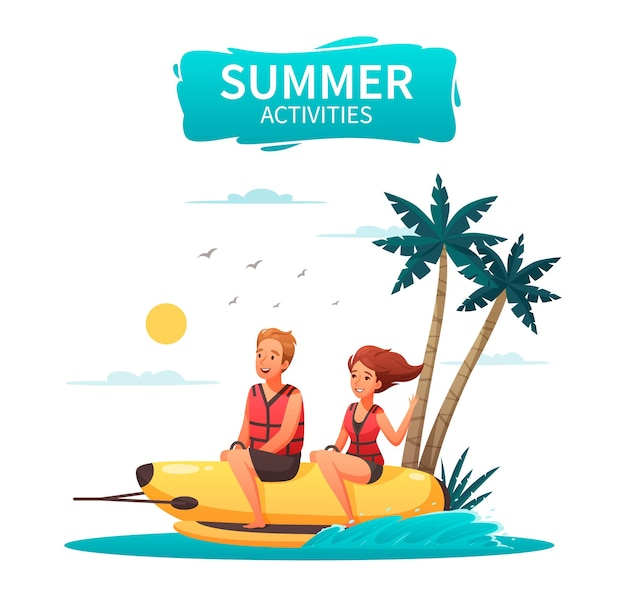 Szczęśliwa para robi sporty wodne, jazda konna banan łódź kreskówka