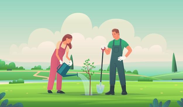 Szczęśliwa para sadzi drzewo. mężczyzna i kobieta pracują w ogrodzie. wolontariat i troska o środowisko. ilustracja wektorowa w stylu płaski