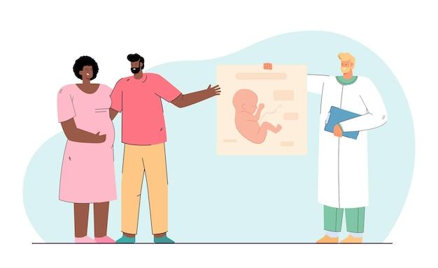 Szczęśliwa para spodziewa się dziecka. płaska ilustracja