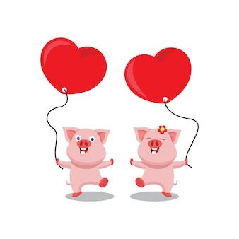 Szczęśliwa para świnia walentynki