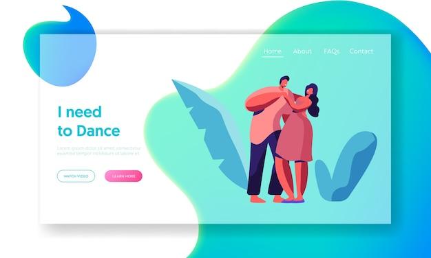 Szczęśliwa para taniec razem landing page. szablon strony internetowej tańczącej postaci kochanka płci męskiej i żeńskiej. przytulanie młodych ludzi. chłopiec i dziewczynka tancerze bawią się dobrze. ilustracja wektorowa płaski kreskówka
