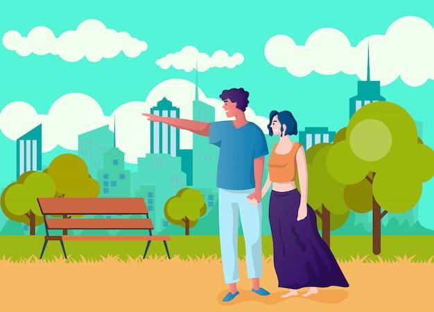 Szczęśliwa para trzymając się za ręce. kreskówka mężczyzna i kobieta w miłości.
