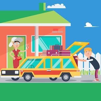 Szczęśliwa para wakacje. letnia podróż samochodem. ilustracji wektorowych