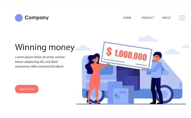 Szczęśliwa para wygrywająca nagrodę pieniężną. szablon witryny lub strona docelowa