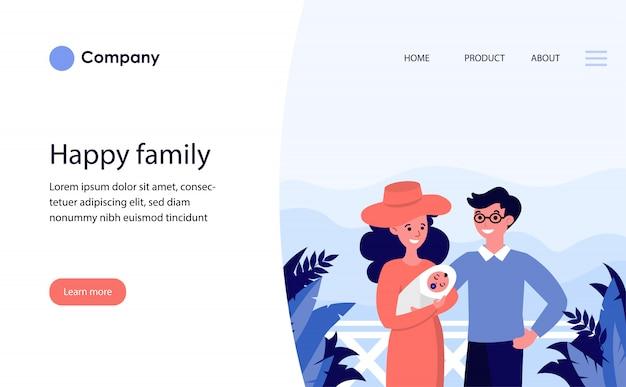 Szczęśliwa para z nowonarodzonym dzieckiem na wakacjach. szablon witryny lub strona docelowa