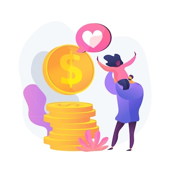Szczęśliwa para z pieniędzmi. duży dochód, zysk gotówkowy, zarobki rodziny. ludzie ze złotymi monetami. sukces finansowy. wspólne oszczędności, całkowity budżet, waluta. ilustracja wektorowa na białym tle koncepcja metafora